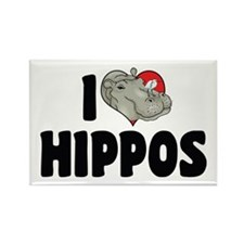 I Love Hippos Rectangle Magnet (10 pack)