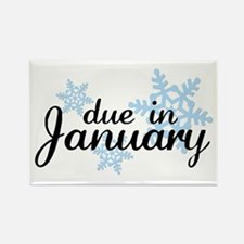 Due In January Snowflake Rectangle Magnet