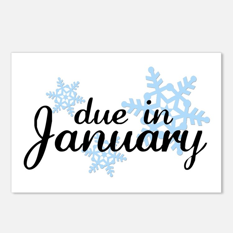 Due In January Snowflake Postcards (Package of 8)