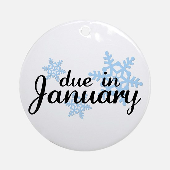 Due In January Snowflake Ornament (Round)