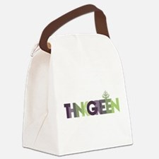 Think Green Text Canvas Lunch Bag