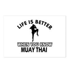Muay Thai Vector designs Postcards (Package of 8)