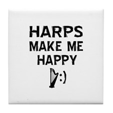 Harps musical instrument designs Tile Coaster