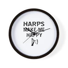 Harps musical instrument designs Wall Clock
