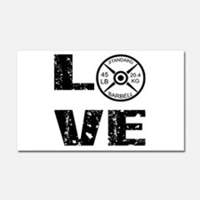 Love Lifting Weights Car Magnet 20 x 12