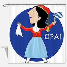Greek Lady Dancing Shower Curtain