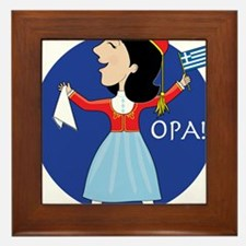 Greek Lady Dancing Framed Tile