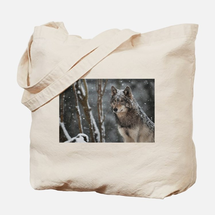 Snowy Lone Wolf Tote Bag