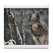 Snowy Lone Wolf Tile Coaster