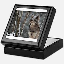 Snowy Lone Wolf Keepsake Box