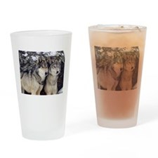 Wolf Couple Drinking Glass