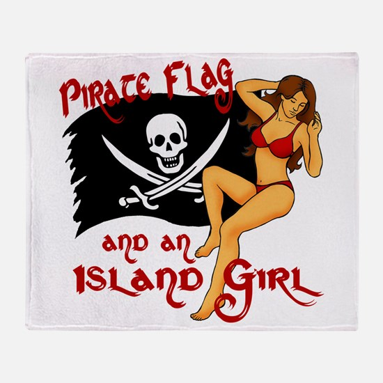 pirate girl Throw Blanket