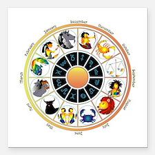 "Whimsical Zodiac Wheel Square Car Magnet 3"" x 3"""
