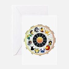 Whimsical Zodiac Wheel Greeting Card