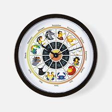 Whimsical Zodiac Wheel Wall Clock