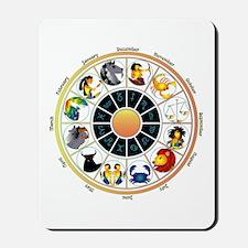 Whimsical Zodiac Wheel Mousepad