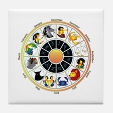 Whimsical Zodiac Wheel Tile Coaster
