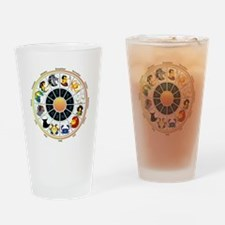 Whimsical Zodiac Wheel Drinking Glass