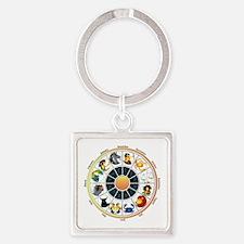 Whimsical Zodiac Wheel Square Keychain