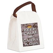 Keep Calm and Carry A Gun Canvas Lunch Bag