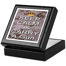 Keep Calm and Carry A Gun Keepsake Box