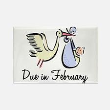 Due In February Stork Rectangle Magnet