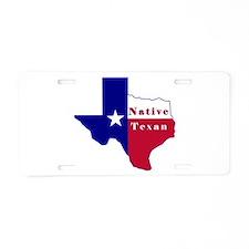 Native Texan Flag Map Aluminum License Plate
