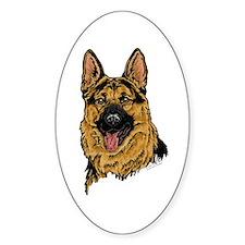 Black & Tan German Shepherd face Oval Decal