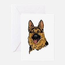 Black & Tan German Shepherd face cards(Pkg. of 6)