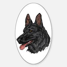 Black German Shepherd face Oval Decal