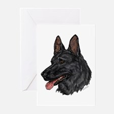 Black German Shepherd face cards (Pkg. of 6)