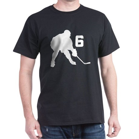 Hockey Player Number 6 Dark T-Shirt