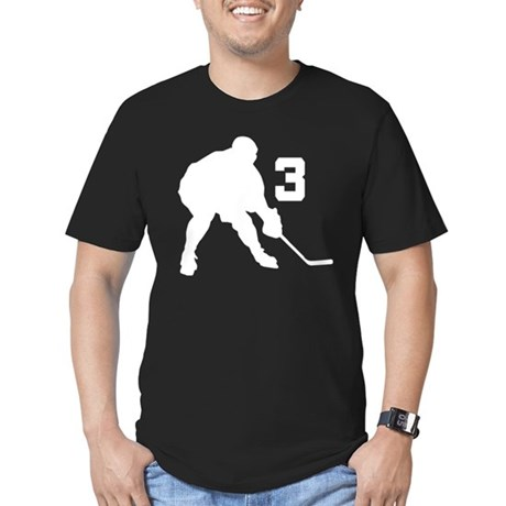 Hockey Player Number 3 Men's Fitted T-Shirt (dark)
