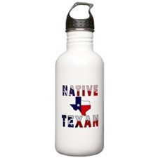 Native Texan Flag Map Water Bottle