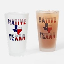Native Texan Flag Map Drinking Glass