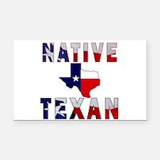 Native Texan Flag Map Rectangle Car Magnet