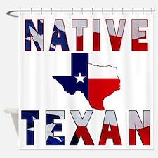 Native Texan Flag Map Shower Curtain