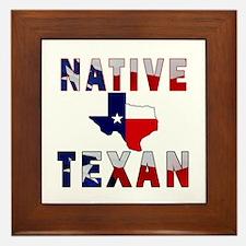 Native Texan Flag Map Framed Tile