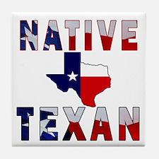Native Texan Flag Map Tile Coaster