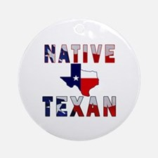 Native Texan Flag Map Ornament (Round)