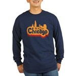 Retro Chicago Long Sleeve Dark T-Shirt