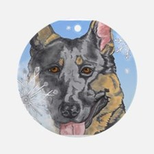 German Shepherd Christmas Ornament #1 (Round)
