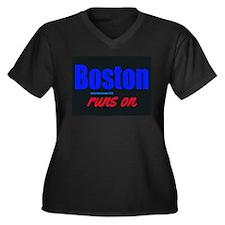 Boston Runs On Women's Plus Size V-Neck Dark Tee