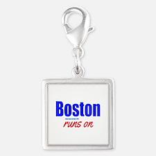 Boston Runs On Silver Square Charm
