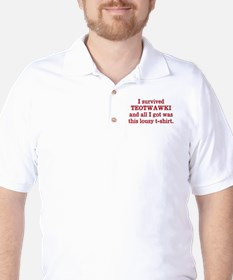 I survived TEOTWAWKI red text T-Shirt
