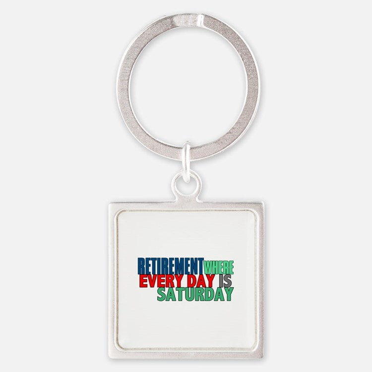 Retirement Square Keychain