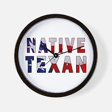 Native Texan Flag Wall Clock