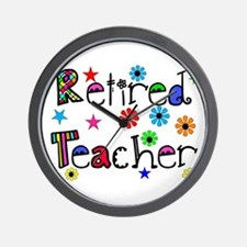 retired teacher stars flowers Wall Clock
