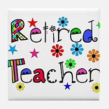 retired teacher stars flowers Tile Coaster
