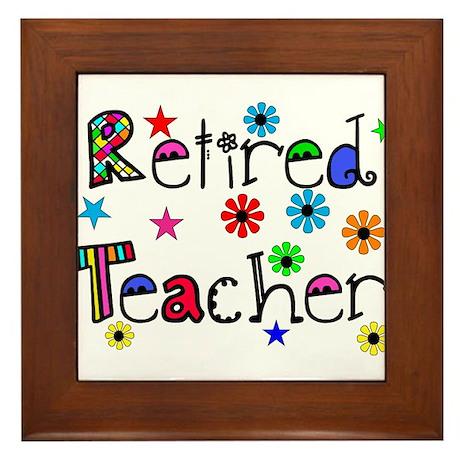 retired teacher stars flowers Framed Tile
